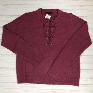 Derek Heart Dark Pink Crew Neck Sweater Sz L JR